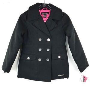Girl's NWT Baby Phat Black Pea Coat Medium